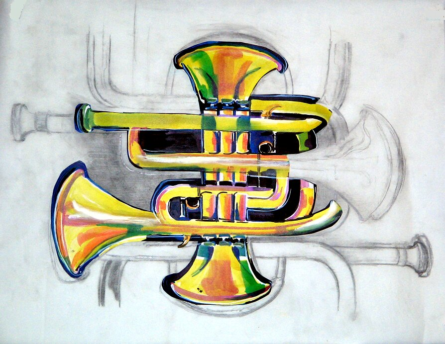 "A Mazing Trumpet Study, 2007, graphite and ink on vellum, 18"" x 24"""