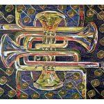 "A Mazing Trumpet, 2007, reduction woodcut print, 22"" x 30"""