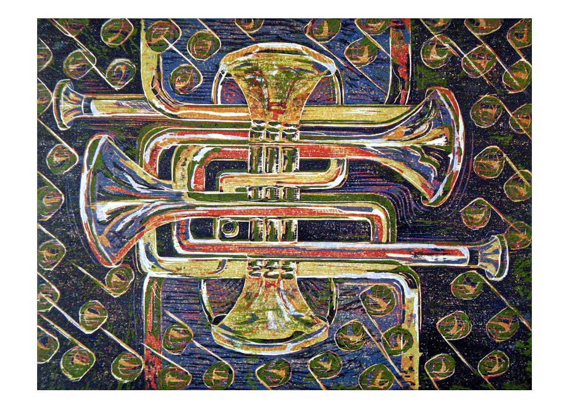 "A Mazing Trumpet, 2007, reduction woodcut print, 22"" x 30"""