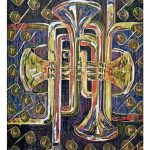 "Arches de Trumpet, 2007, reduction woodcut print, 30"" x 22"""
