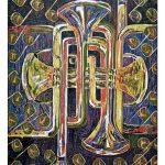 """Arches de Trumpet, 2007, reduction woodcut print, 30"""" x 22"""""""