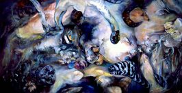 "Blue Sacrament, 2004, Oil on canvas, 60"" x 120"""