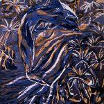 "Dolphin, 2005, Reduction woodcut print, 11"" x 9"""