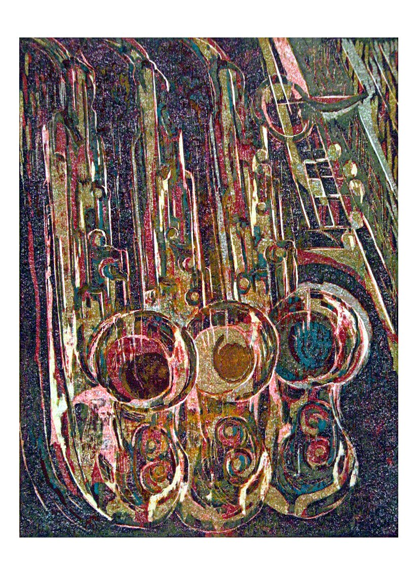 "Saxscrapers, 2007, Reduction woodcut print, 30"" x 22"""