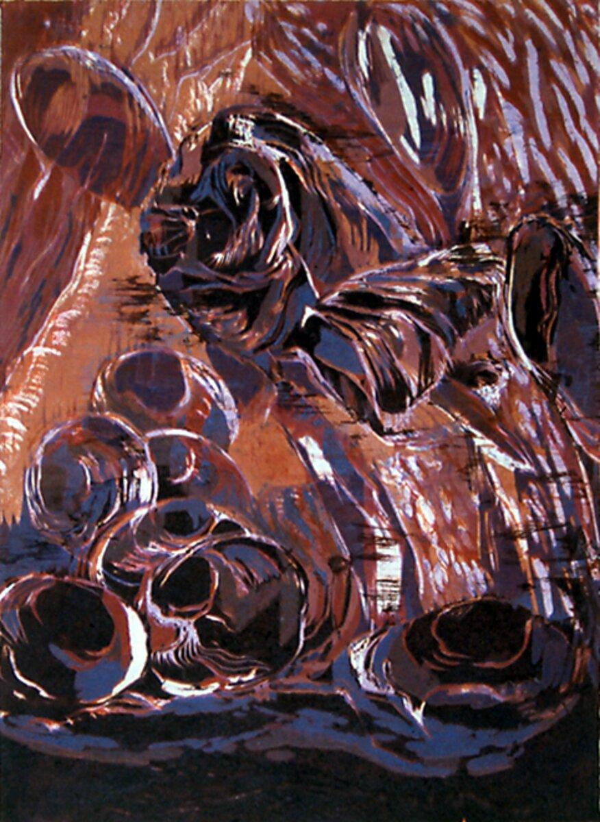 """Something Fishy, 2005, Reduction woodcut print, 11"""" x 9"""""""