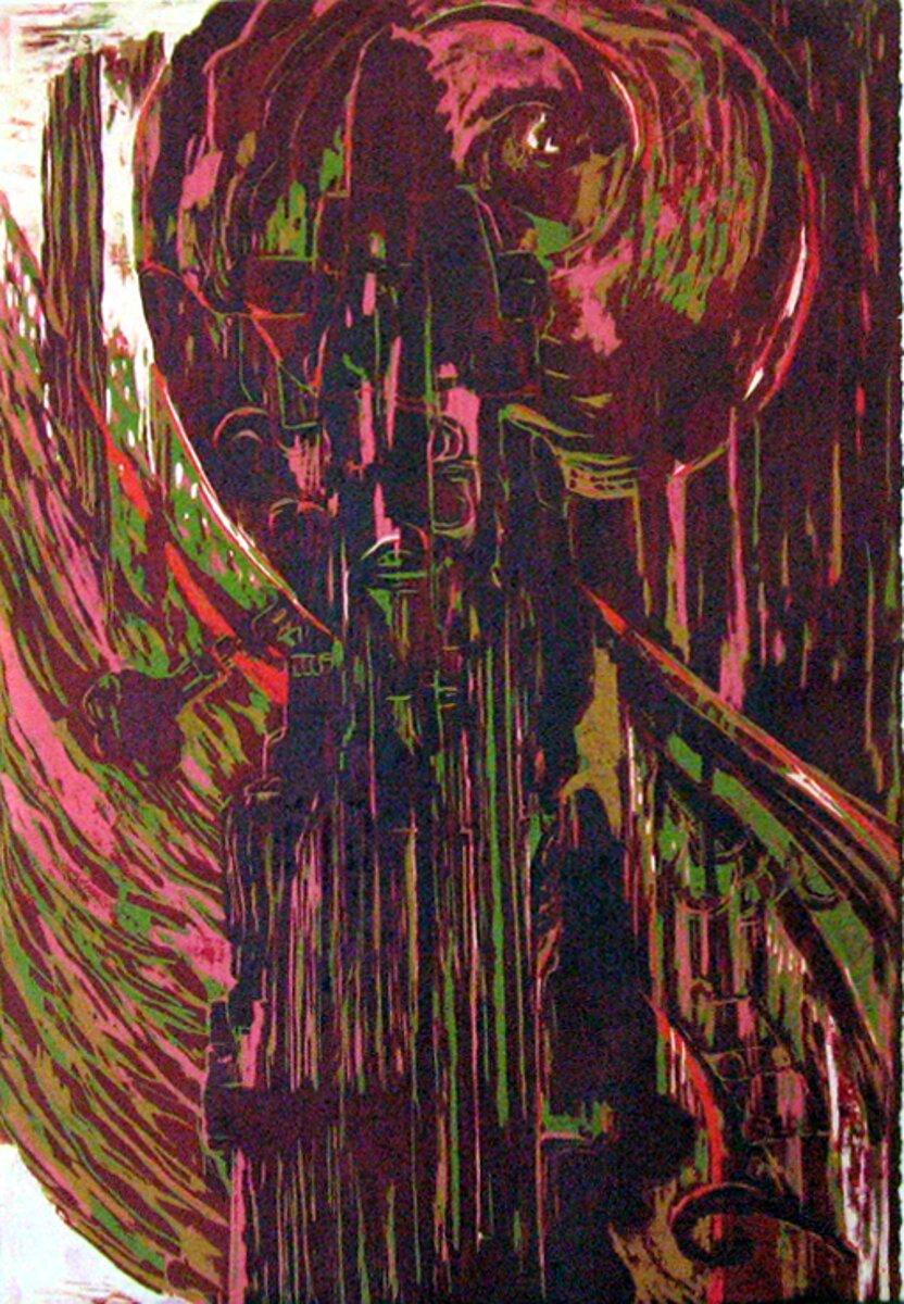 """Str""""eulau""""ing Along, 2005, reduction woodcut print, 27 1/2"""" x 18 1/2"""""""