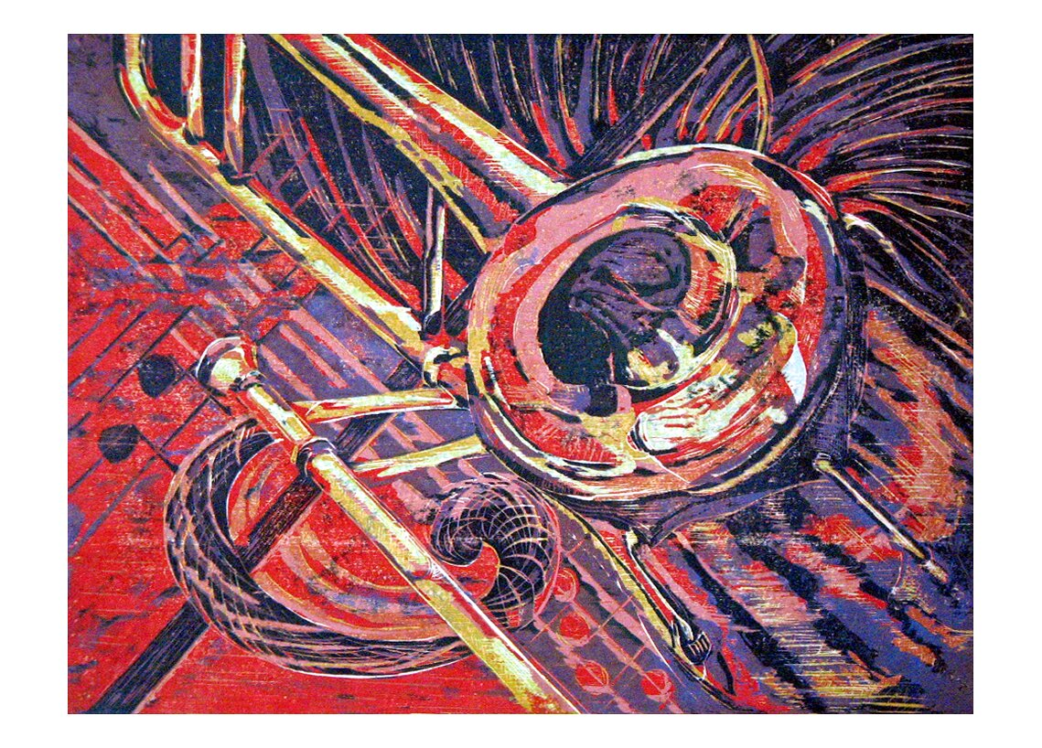 "T-Bone Express, 2007, Reduction woodcut print, 22"" x 30"""