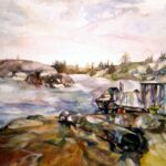 "Chum's Dock, 2004, watercolor on Arches archival paper, 18"" x 36"""