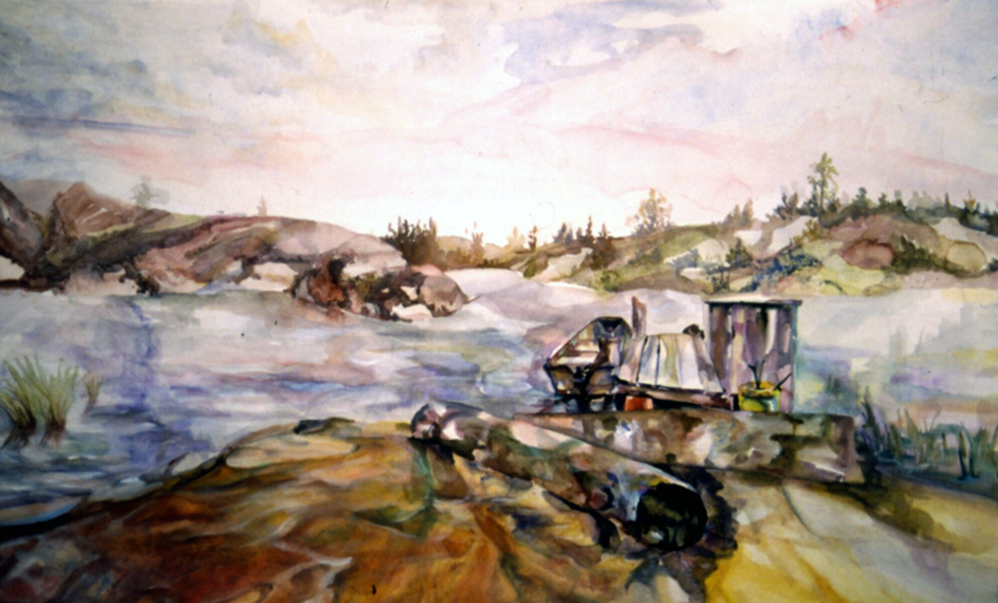"""Chum's Dock, 2004, watercolor on Arches archival paper, 18"""" x 36"""""""